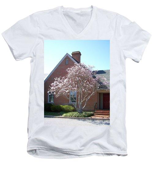 Men's V-Neck T-Shirt featuring the photograph Cherry Blossom by Pamela Hyde Wilson