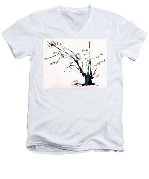 Cherry Tree By Straw Men's V-Neck T-Shirt