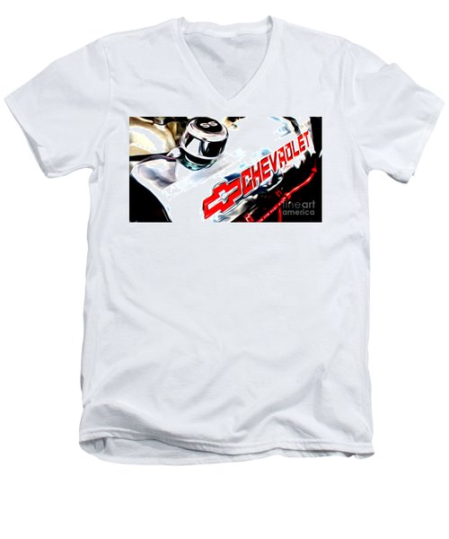 Men's V-Neck T-Shirt featuring the digital art Chevy Power by Tony Cooper