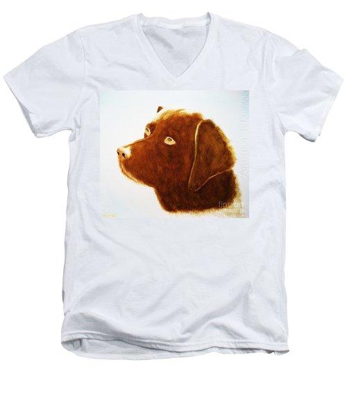 Chocolate Labrador  Men's V-Neck T-Shirt