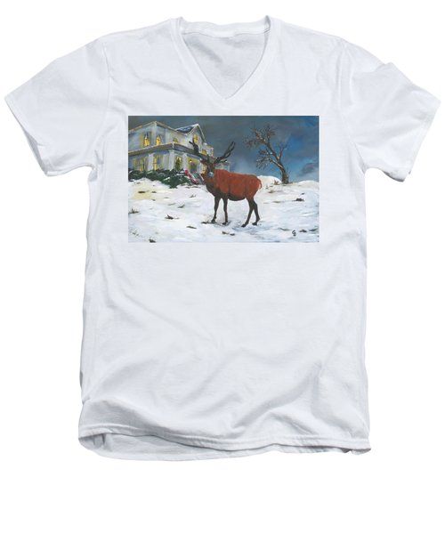 Christmas Elk Men's V-Neck T-Shirt