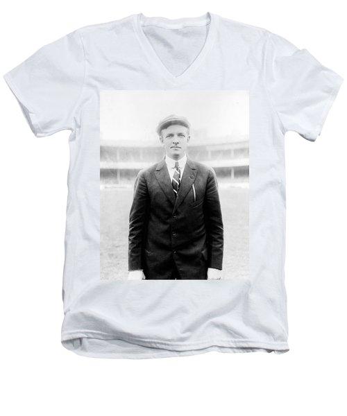 Men's V-Neck T-Shirt featuring the photograph Christy Mathewson - Major League Baseball Player by International  Images