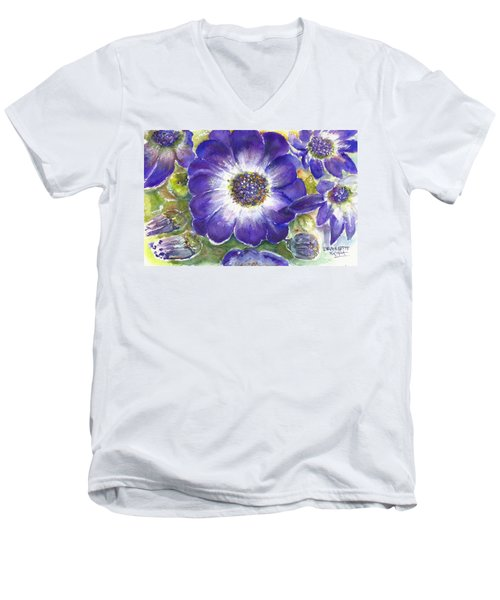 Cineraria Of South Africa  Men's V-Neck T-Shirt by Bernadette Krupa