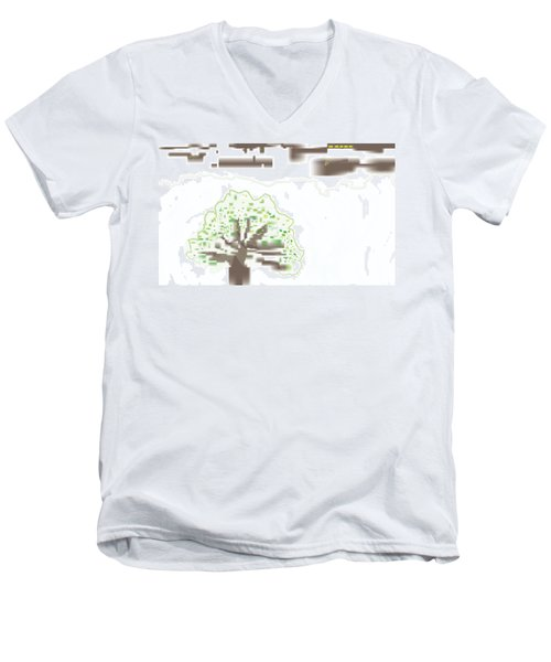 City Tree Men's V-Neck T-Shirt by Kevin McLaughlin