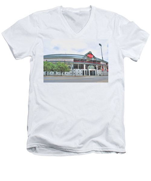 Men's V-Neck T-Shirt featuring the photograph Coca Cola Field  by Michael Frank Jr