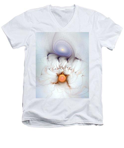 Men's V-Neck T-Shirt featuring the digital art Coexistence by Casey Kotas