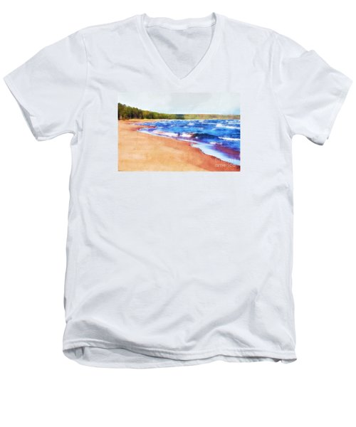 Men's V-Neck T-Shirt featuring the photograph Colors Of Water by Phil Perkins