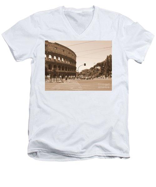Colosseum In Sepia Men's V-Neck T-Shirt
