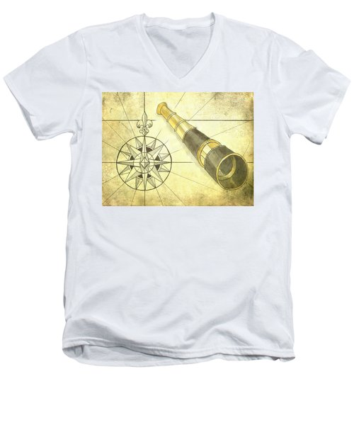 Compass And Monocular Men's V-Neck T-Shirt