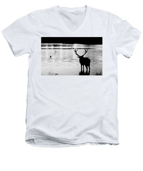 Men's V-Neck T-Shirt featuring the photograph Cooling Off Deer by Maj Seda