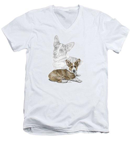 Men's V-Neck T-Shirt featuring the drawing Corgi Dog Art Print Color Tinted by Kelli Swan