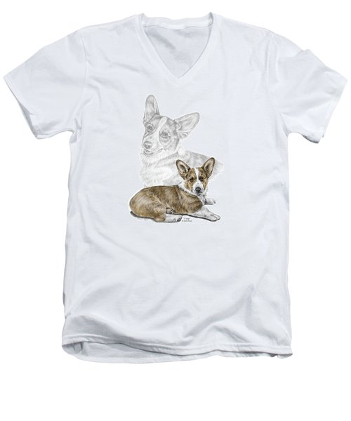 Corgi Dog Art Print Color Tinted Men's V-Neck T-Shirt