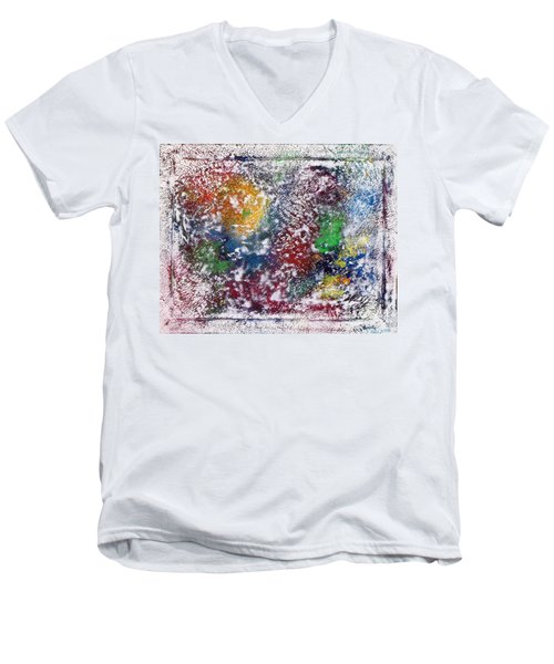 Men's V-Neck T-Shirt featuring the painting Cosmos by Alys Caviness-Gober