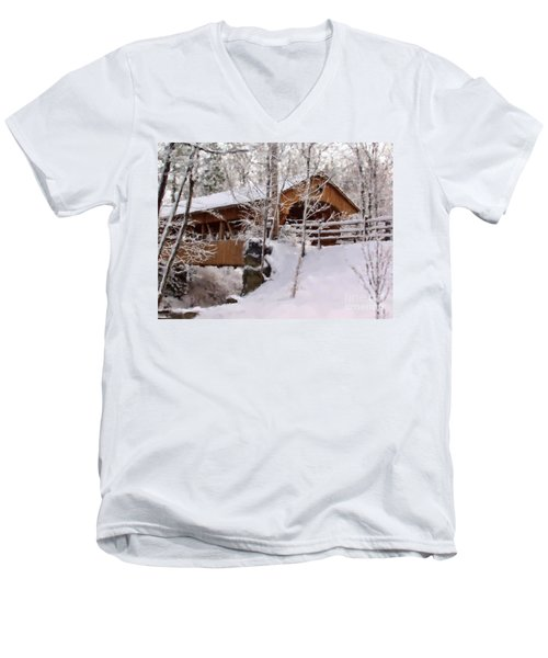 Covered Bridge At Olmsted Falls - 2 Men's V-Neck T-Shirt