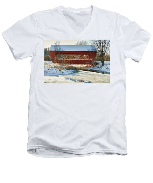Men's V-Neck T-Shirt featuring the photograph Covered Bridge by Eunice Gibb
