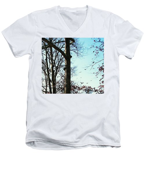 Men's V-Neck T-Shirt featuring the photograph Crows In For Landing by Pamela Hyde Wilson