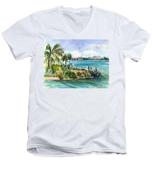Men's V-Neck T-Shirt featuring the painting Cudjoe Key Bridge by Clara Sue Beym