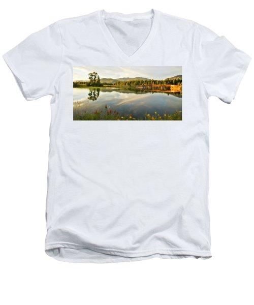 Men's V-Neck T-Shirt featuring the photograph Deer Island Bridge by Albert Seger