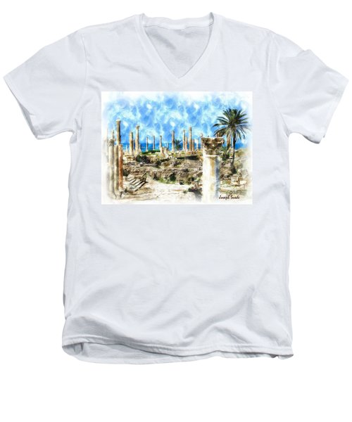 Do-00550 Ruins And Columns Men's V-Neck T-Shirt