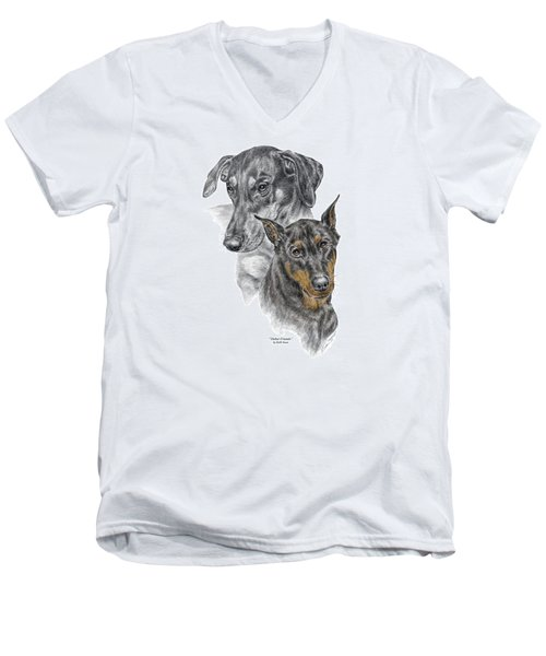 Dober-friends - Doberman Pinscher Portrait Color Tinted Men's V-Neck T-Shirt