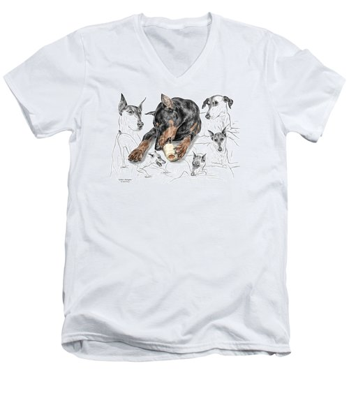 Men's V-Neck T-Shirt featuring the drawing Dober-thoughts - Doberman Pinscher Montage Print Color Tinted by Kelli Swan
