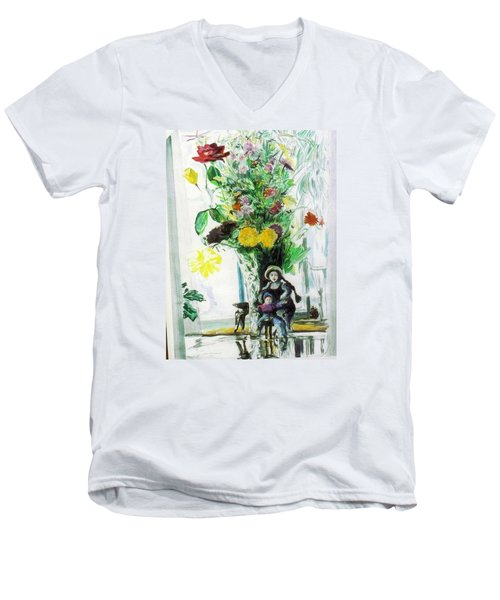 Dolls And Flowers Men's V-Neck T-Shirt