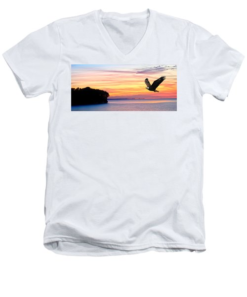 Men's V-Neck T-Shirt featuring the photograph Eagle Sunrise by Randall Branham