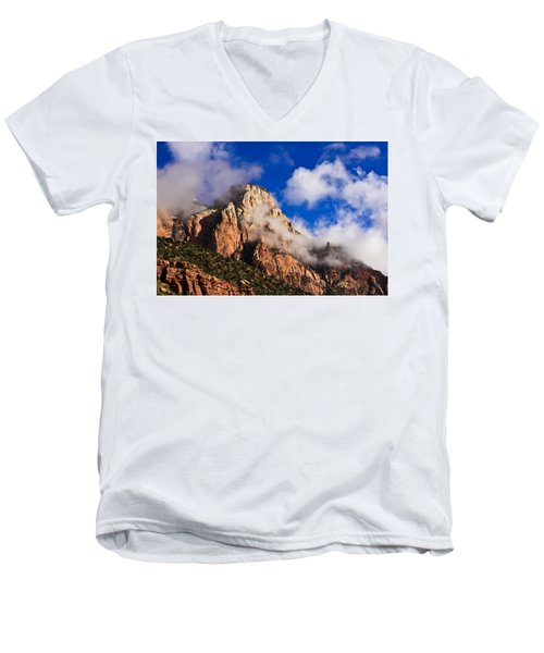 Early Morning Zion National Park Men's V-Neck T-Shirt