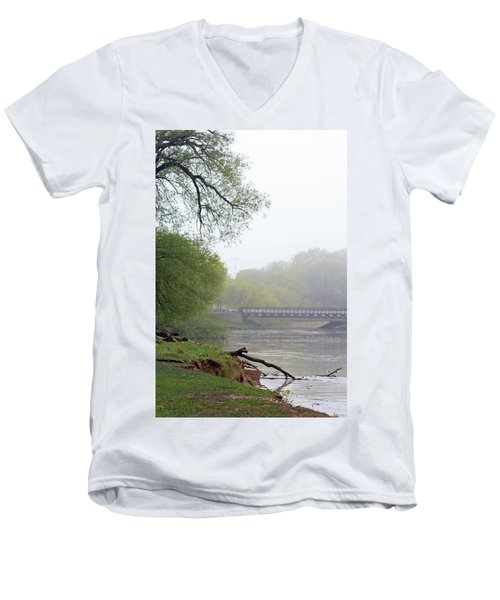Men's V-Neck T-Shirt featuring the photograph Early Spring Morning Fog by Kay Novy