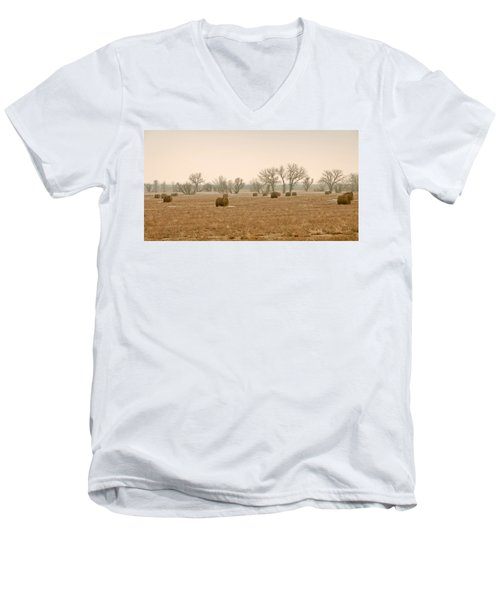 Men's V-Neck T-Shirt featuring the photograph Earlying Morning Hay Bails by James Steele