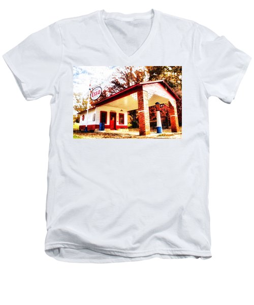 Men's V-Neck T-Shirt featuring the painting Esso Filling Station by Lynne Jenkins