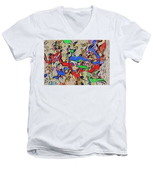 Men's V-Neck T-Shirt featuring the digital art Fabric Of Life by Alec Drake
