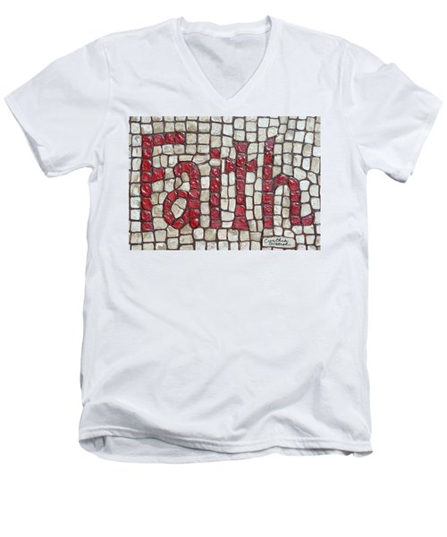 Men's V-Neck T-Shirt featuring the painting Faith by Cynthia Amaral