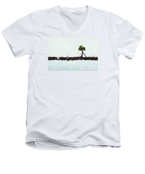 Men's V-Neck T-Shirt featuring the photograph Falling Mangrove Leaf by Dan Friend