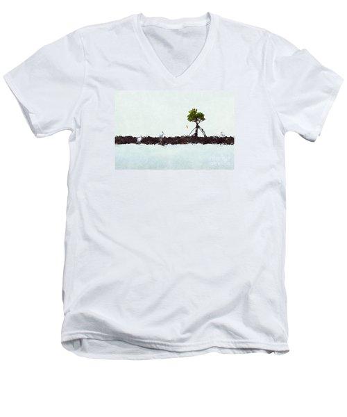 Falling Mangrove Leaf Men's V-Neck T-Shirt