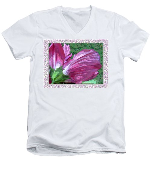 Men's V-Neck T-Shirt featuring the digital art Fancy Finish by Debbie Portwood