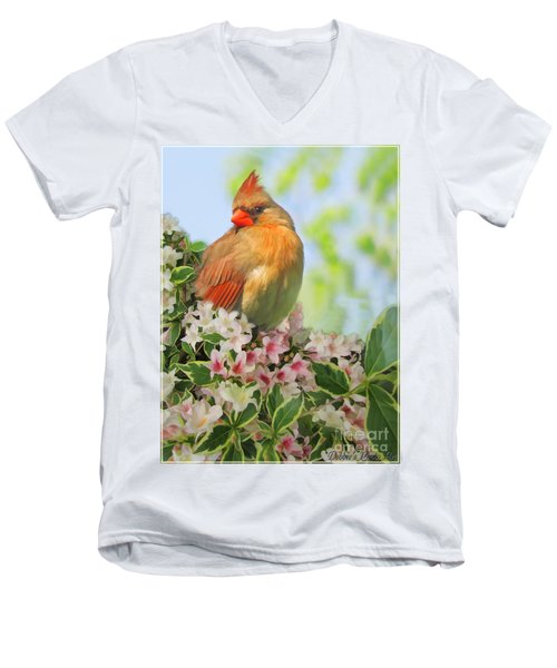 Men's V-Neck T-Shirt featuring the photograph Female Cardnial In Wegia Digital Art by Debbie Portwood