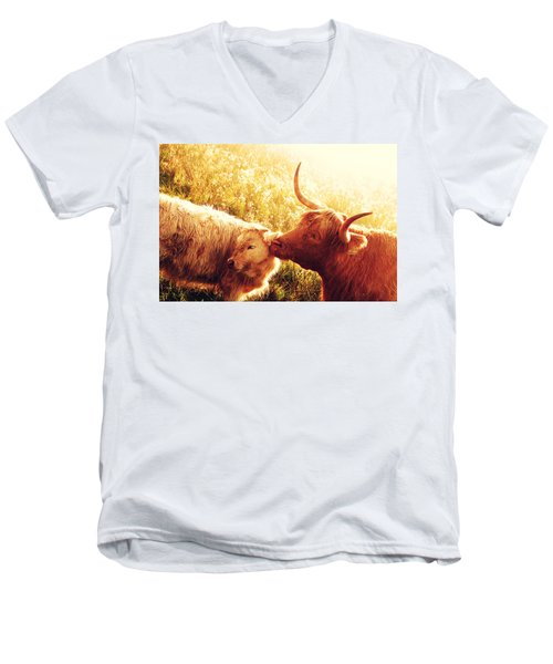 Fenella With Her Daughter. Highland Cows. Scotland Men's V-Neck T-Shirt by Jenny Rainbow