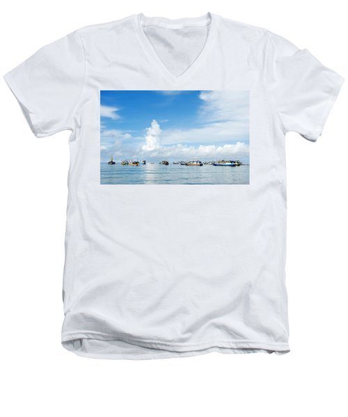 Men's V-Neck T-Shirt featuring the photograph Fishing Boat by Yew Kwang