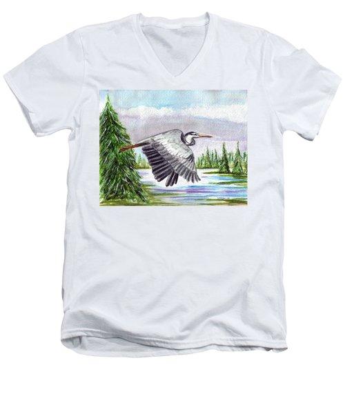 Men's V-Neck T-Shirt featuring the painting Flight Of Fantasy by Clara Sue Beym