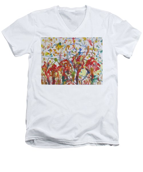 Men's V-Neck T-Shirt featuring the painting Floral Feel by Sonali Gangane