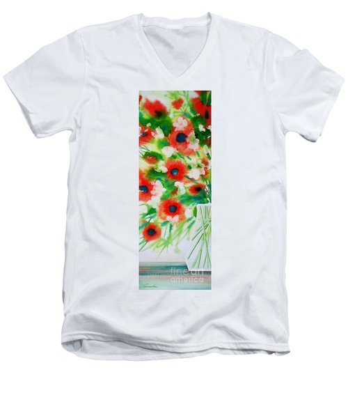 Flowers In A Glass Men's V-Neck T-Shirt