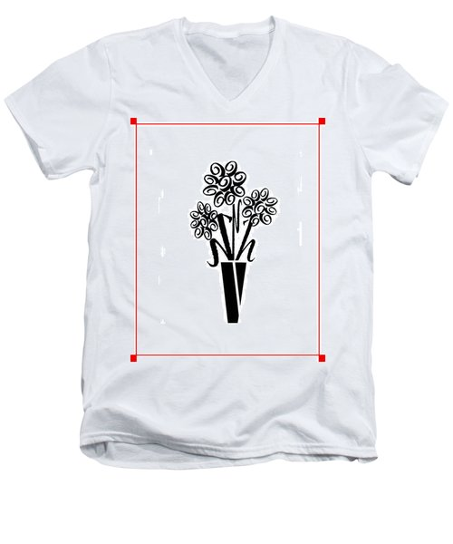 Flowers In Type Men's V-Neck T-Shirt by Connie Fox