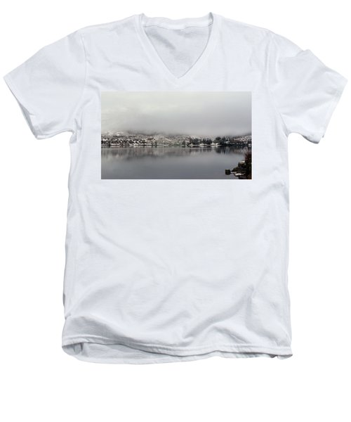 Men's V-Neck T-Shirt featuring the photograph Fog On The Loch by Lynn Bolt