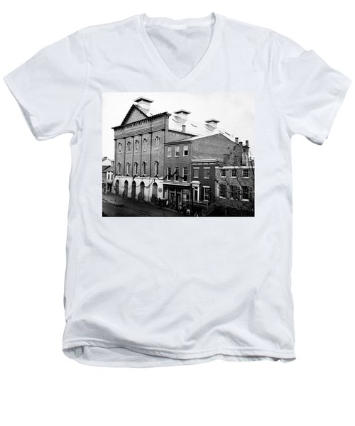 Men's V-Neck T-Shirt featuring the photograph Fords Theater - After Lincolns Assasination - 1865 by International  Images