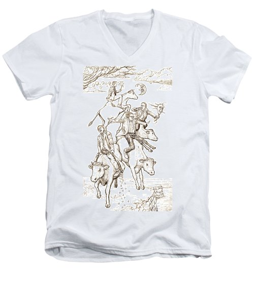 Men's V-Neck T-Shirt featuring the digital art Four Mad Cowboys Of The Apocalypse by Russell Kightley
