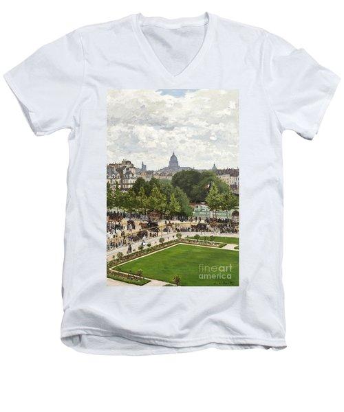 Garden Of The Princess Men's V-Neck T-Shirt by Claude Monet