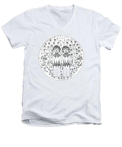 Gemini Men's V-Neck T-Shirt by Rachel Hershkovitz