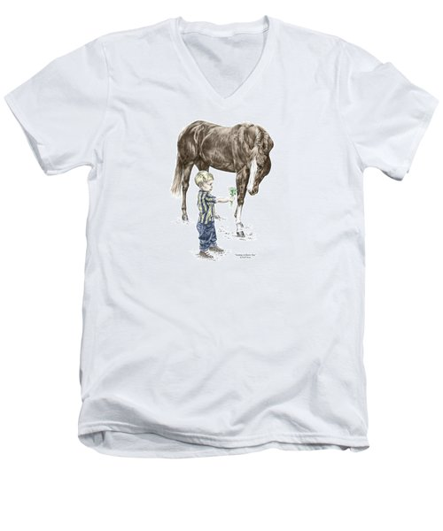 Getting To Know You - Boy And Horse Print Color Tinted Men's V-Neck T-Shirt