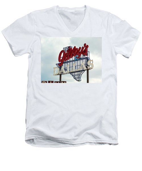 Men's V-Neck T-Shirt featuring the photograph Gilleys Dallas by Charlie and Norma Brock